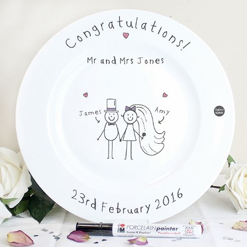 Personalised Purple Ronnie Wedding Message Plate